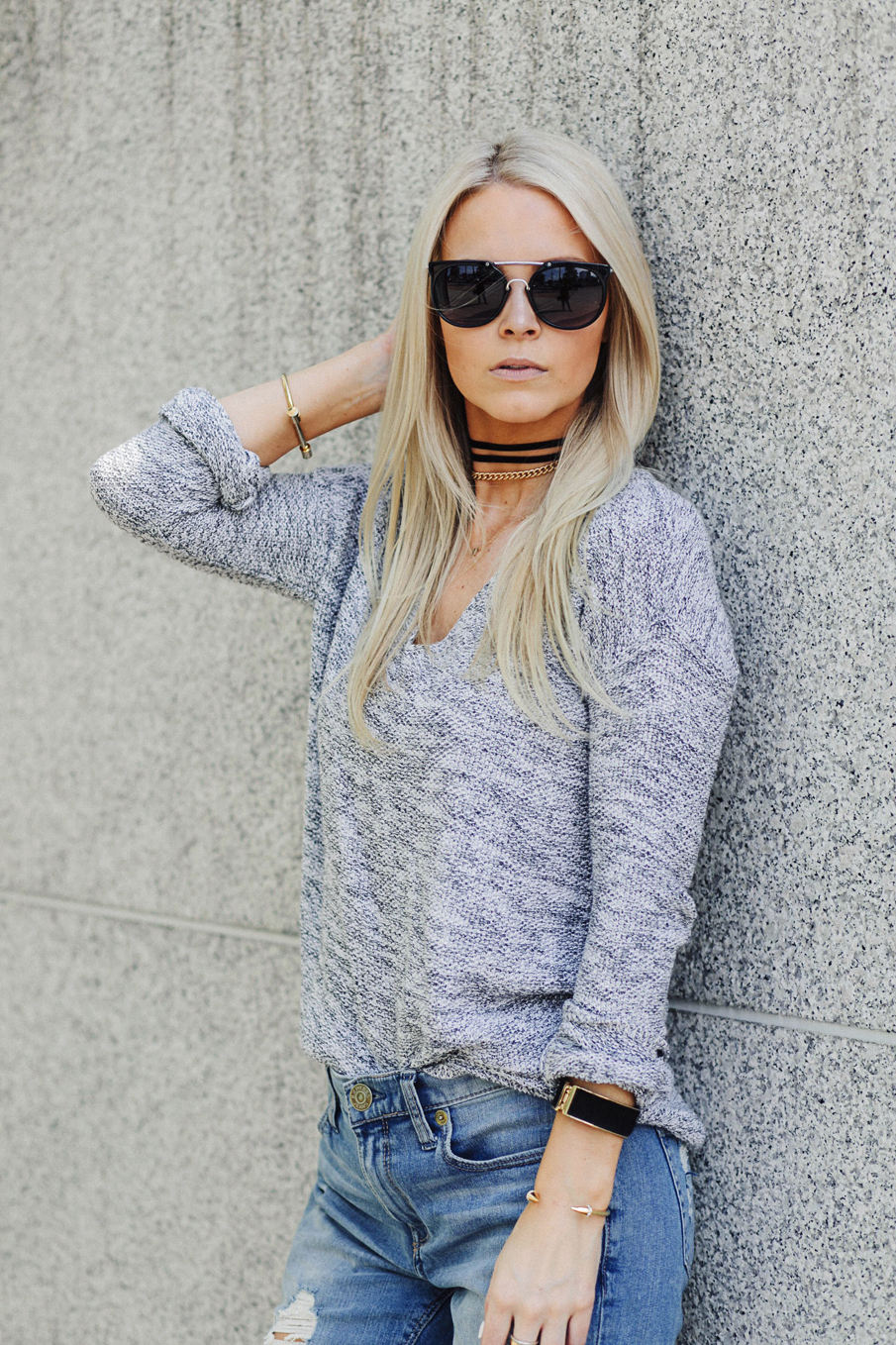 grey sweater outfit