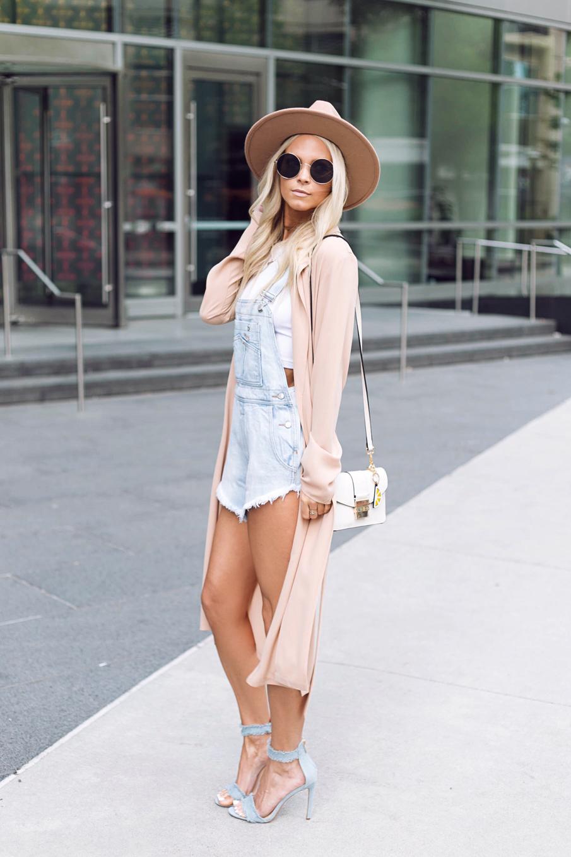 overalls and denim heels