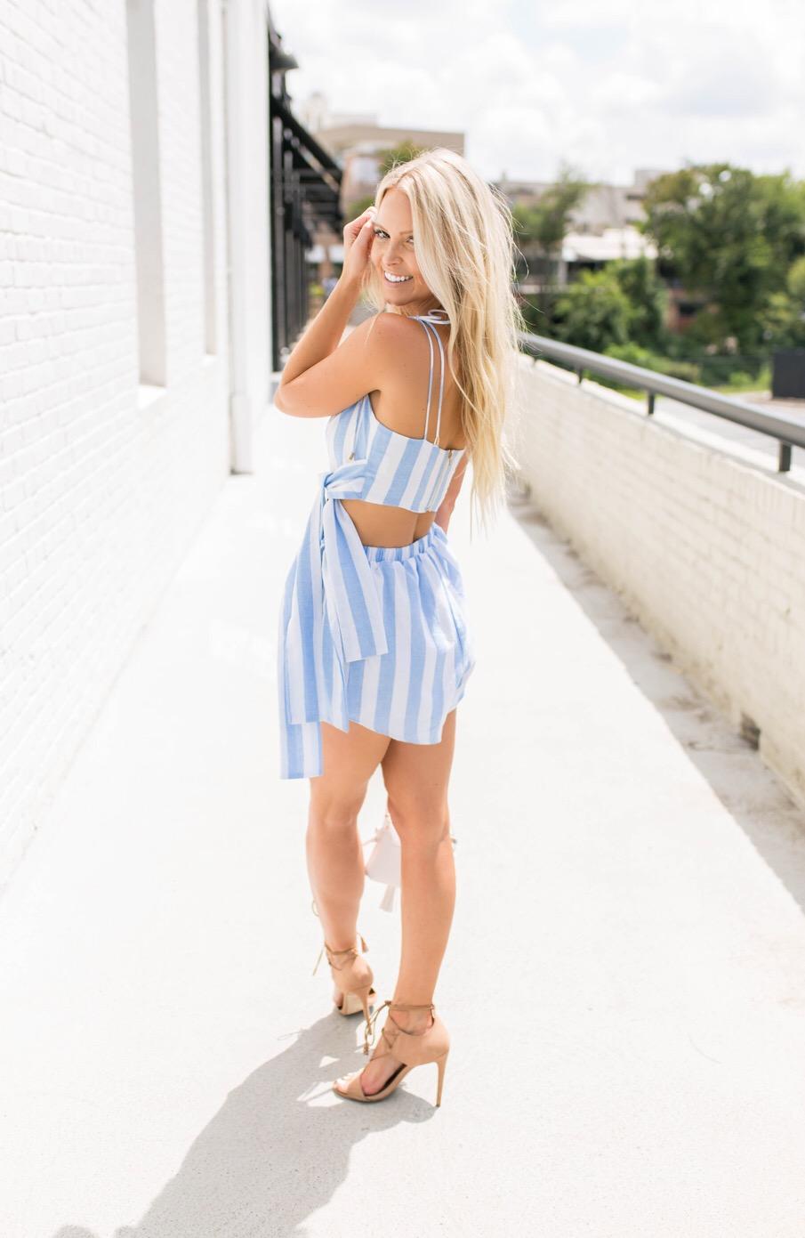 striped shorts set