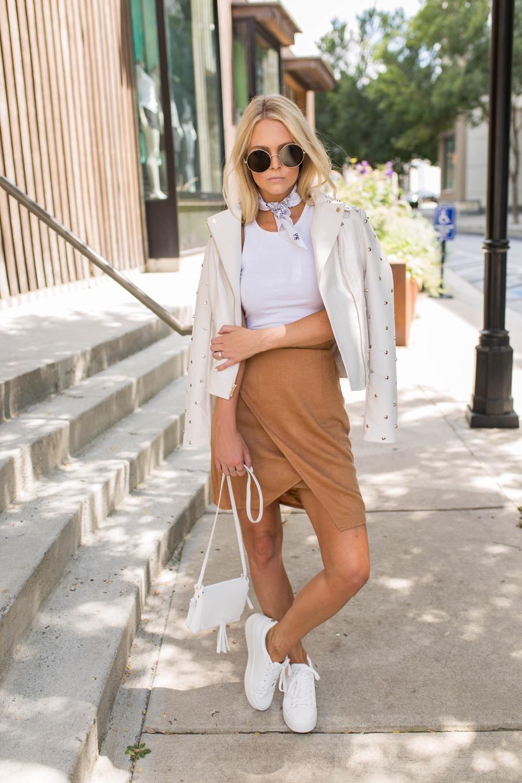 camel skirt, studded leather jacket