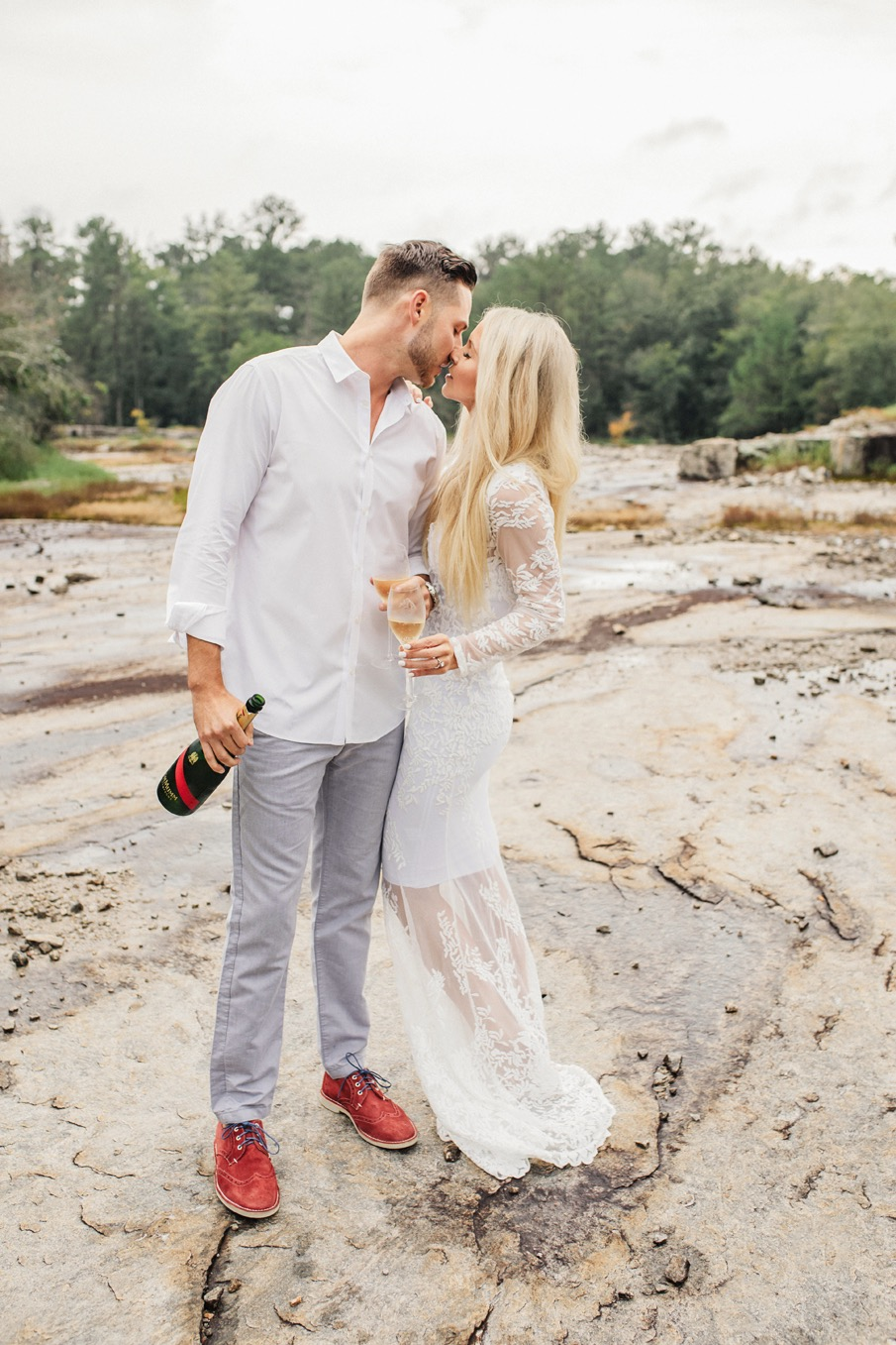 engagement session, lace gown
